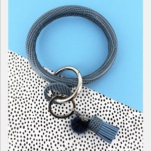 Jewelry - Blue Snakeskin Faux Leather Tassel Bangle Keychain